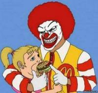 Ronald McDonald manipulates with children [ 43.11 Kb ]