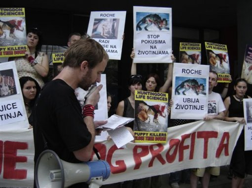 Protest in front of Roche 2