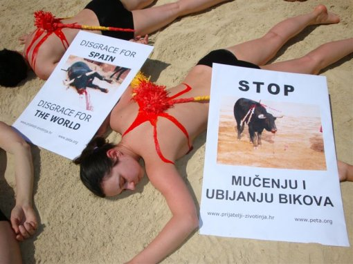 Performans against bullfighting in Rijeka [ 99.83 Kb ]
